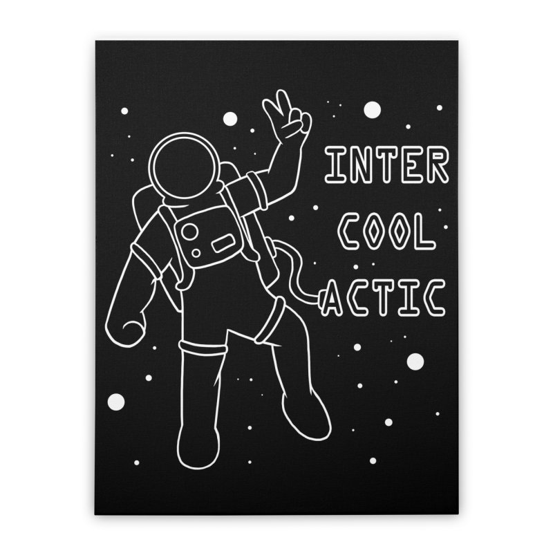 Inter-Cool-Actic - White - Text Home Stretched Canvas by Rachel Yelding | enchantedviolin