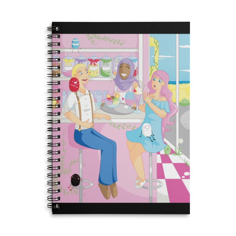 Companions - Ice Cream Parlour Accessories Lined Spiral Notebook by Rachel Yelding | enchantedviolin