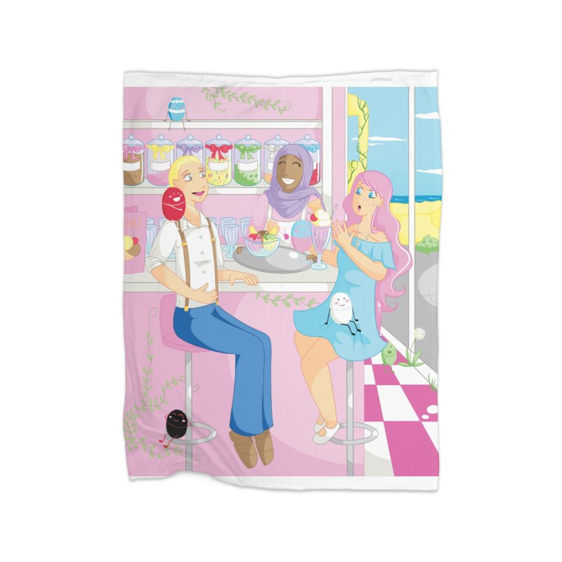 Companions - Ice Cream Parlour Home Fleece Blanket Blanket by Rachel Yelding | enchantedviolin