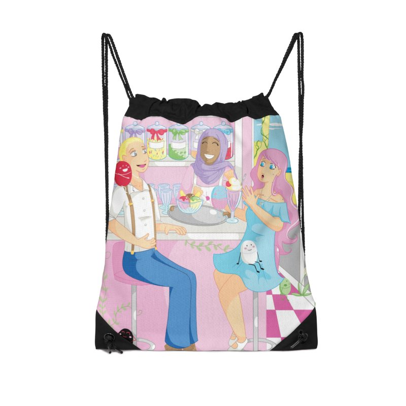 Companions - Ice Cream Parlour Accessories Drawstring Bag Bag by Rachel Yelding | enchantedviolin