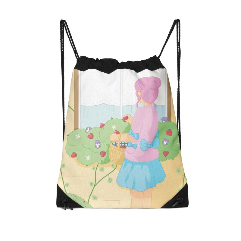 Companions - Strawberry Picking and Daisy Chain Making Accessories Drawstring Bag Bag by Rachel Yelding | enchantedviolin
