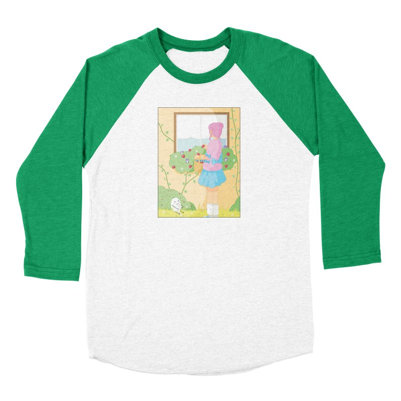 Companions - Strawberry Picking and Daisy Chain Making in Women's Baseball Triblend Longsleeve T-Shirt Tri-Kelly Sleeves by Rachel Yelding | enchantedviolin