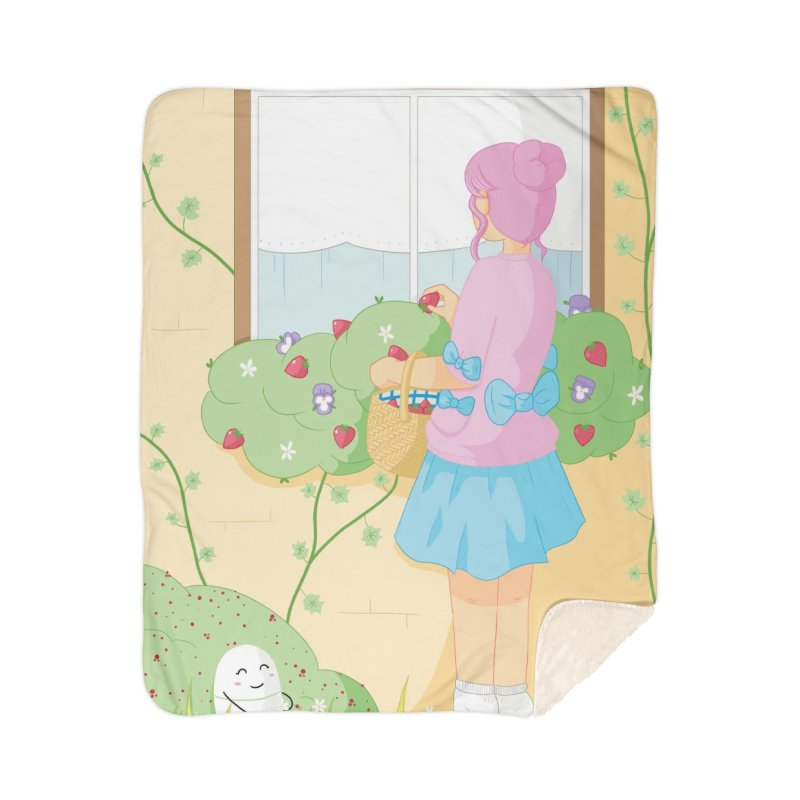 Companions - Strawberry Picking and Daisy Chain Making Home Sherpa Blanket Blanket by Rachel Yelding | enchantedviolin
