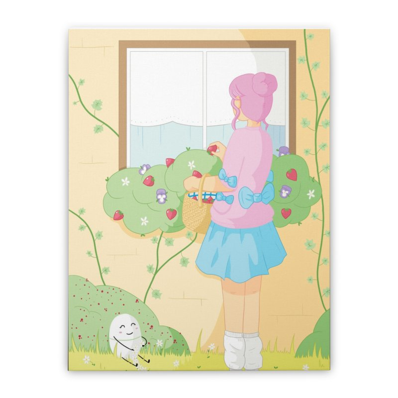 Companions - Strawberry Picking and Daisy Chain Making Home Stretched Canvas by Rachel Yelding | enchantedviolin