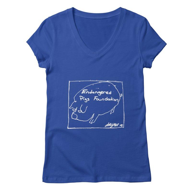 Women's T-Shirt Women's V-Neck by Endangered Pig's Foundation