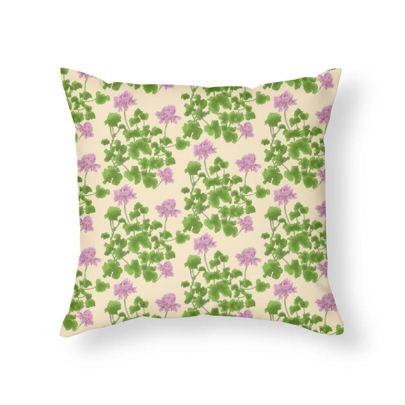 Pelargonium capitatum- rose scented pattern design Home Throw Pillow by Nature&speciesArt    Artist Shop