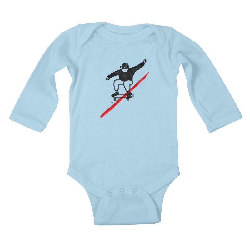 red line Kids Baby Longsleeve Bodysuit by enginoztekin's Artist Shop
