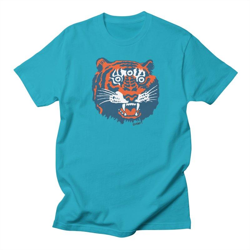 Tiger in Men's Regular T-Shirt Cyan by Enjoy Denial