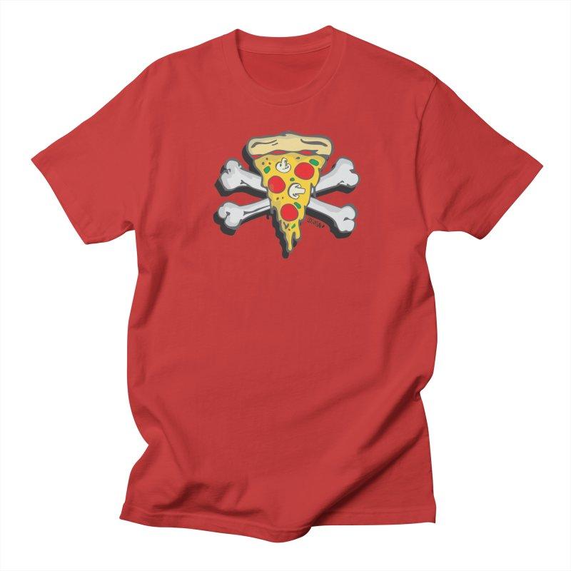 Pizza in Men's Regular T-Shirt Red by Enjoy Denial