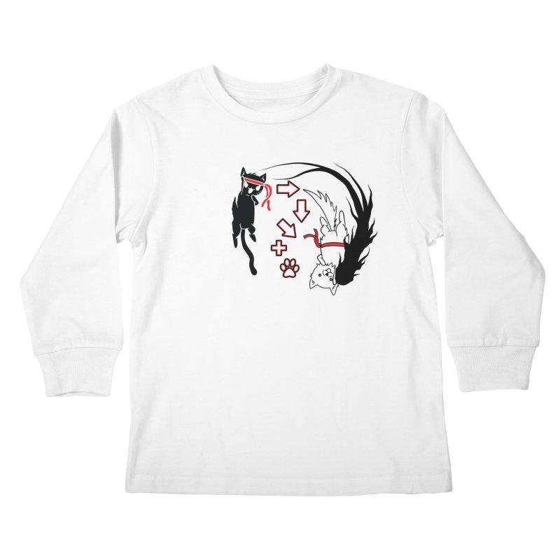 Paw-yuken! Kids Longsleeve T-Shirt by EnoLa's Artist Shop