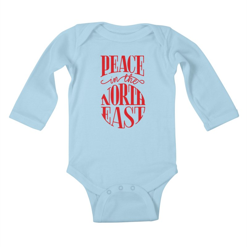 Peace in the Northeast Kids Baby Longsleeve Bodysuit by Flatirony