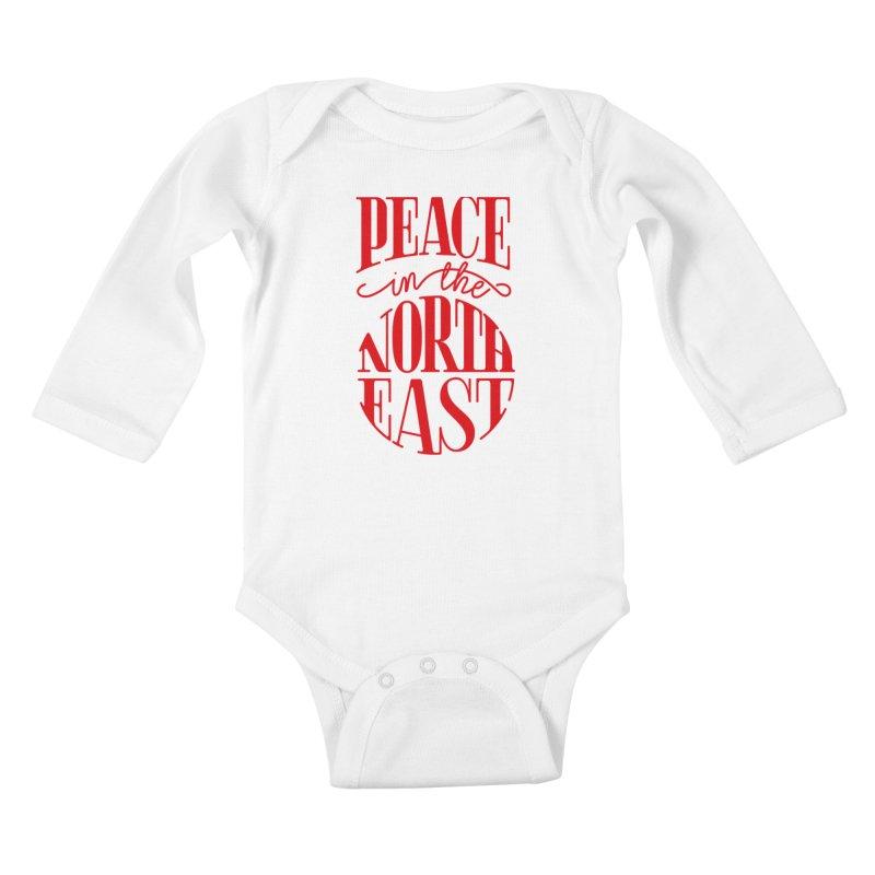 Peace in the Northeast Kids Baby Longsleeve Bodysuit by Flatirony