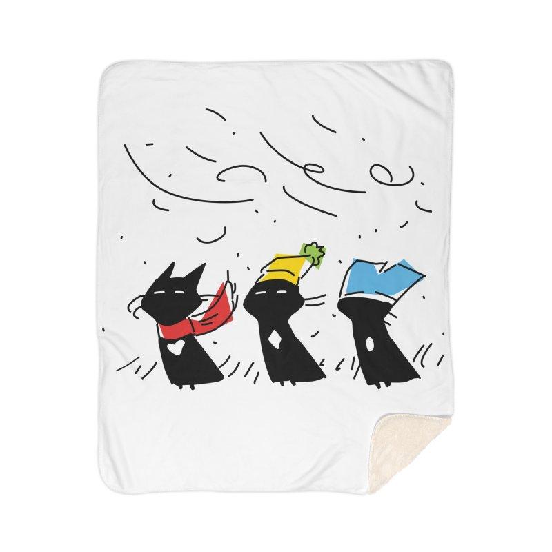 Three Awful Children Home Sherpa Blanket Blanket by enorie
