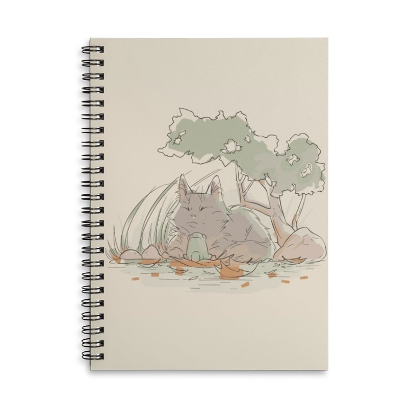 Cat and Frog Accessories Lined Spiral Notebook by enorie