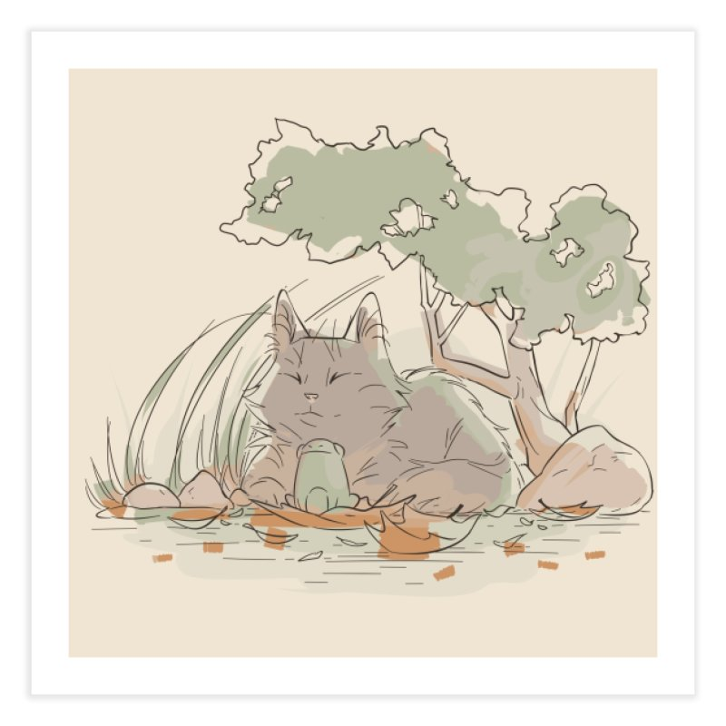 Cat and Frog Home Fine Art Print by enorie