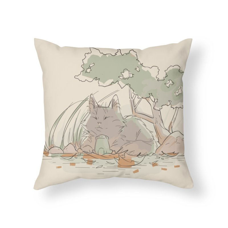 Cat and Frog Home Throw Pillow by enorie