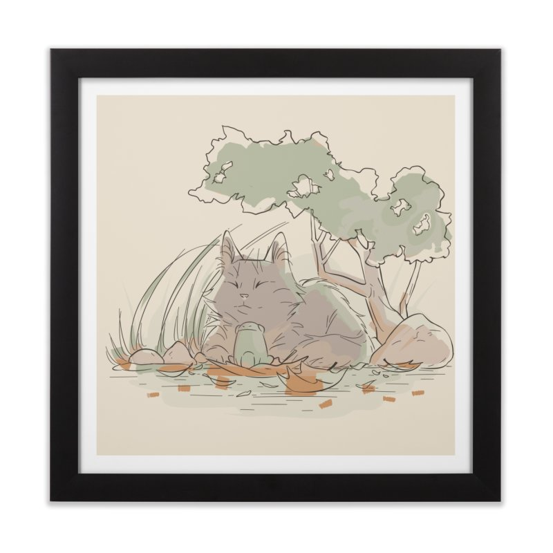 Cat and Frog Home Framed Fine Art Print by enorie