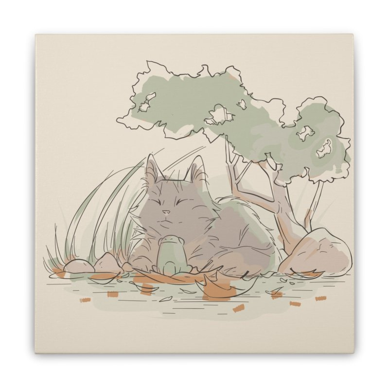 Cat and Frog Home Stretched Canvas by enorie