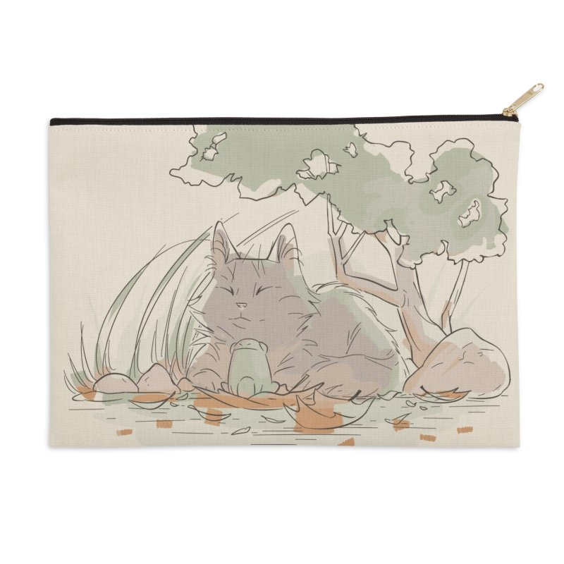 Cat and Frog Accessories Zip Pouch by enorie