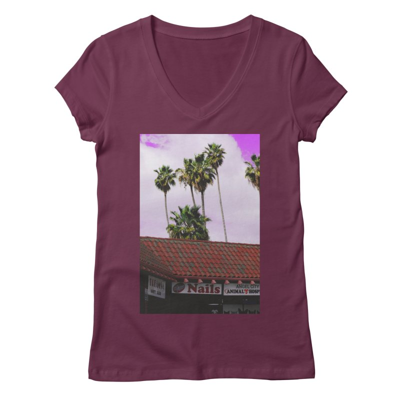 dreams. nails. angel city. Women's Regular V-Neck by ENRAPTURED CLOTH