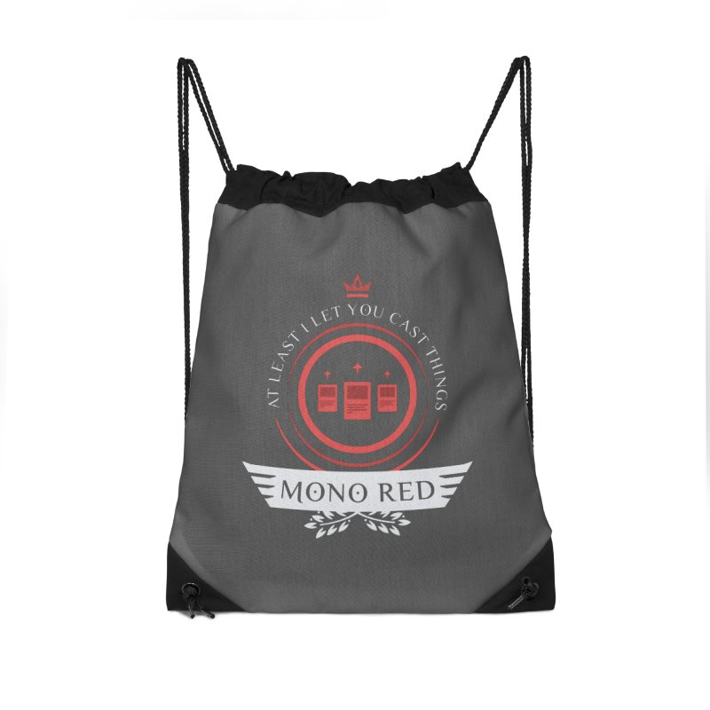 Mono Red Life Accessories Drawstring Bag Bag by Epic Upgrades