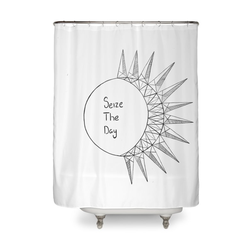 Seize The Solar Lunar Cycle (black) Home Shower Curtain by Epileptic Explorer