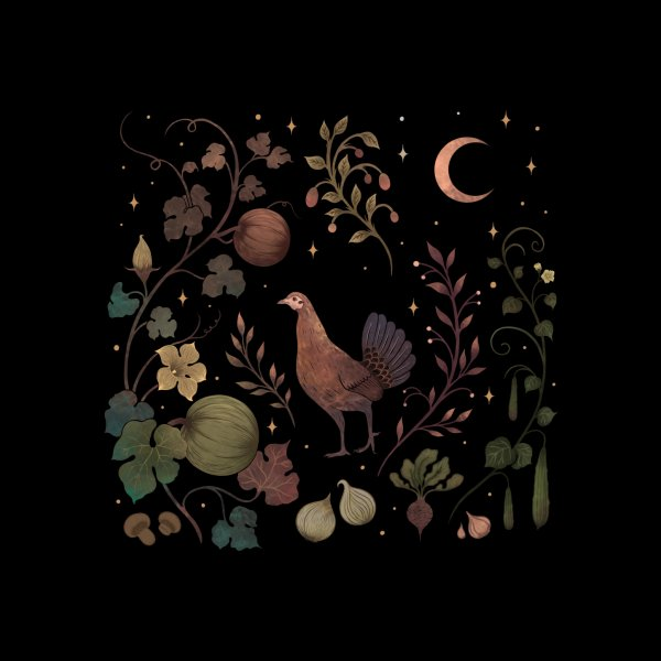 Design for Wild Chicken with Autumn Vines