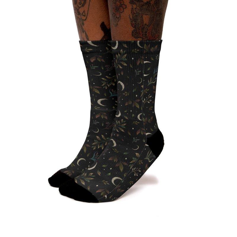 Crescent Moon Garden Women's Socks by episodic's Artist Shop
