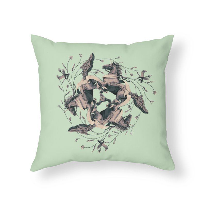 Horses Home Throw Pillow by erdavid's Artist Shop