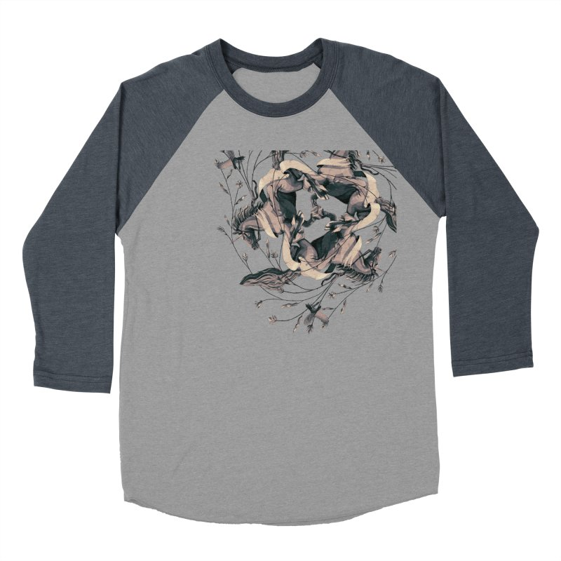 Horses Men's Baseball Triblend T-Shirt by erdavid's Artist Shop