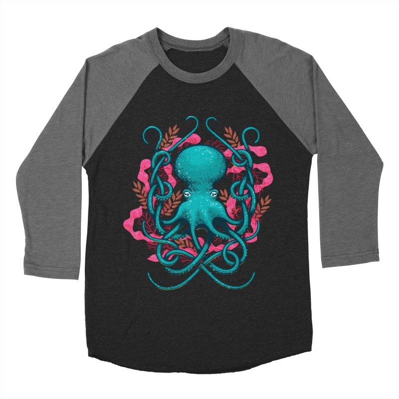 Octupus and Coral Men's Baseball Triblend T-Shirt by erdavid's Artist Shop