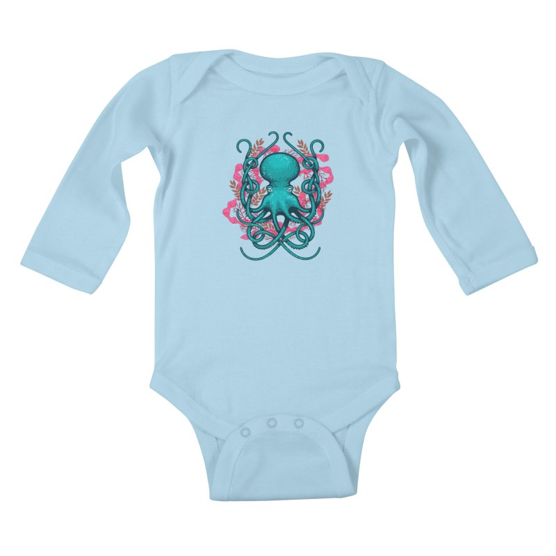 Octupus and Coral Kids Baby Longsleeve Bodysuit by erdavid's Artist Shop