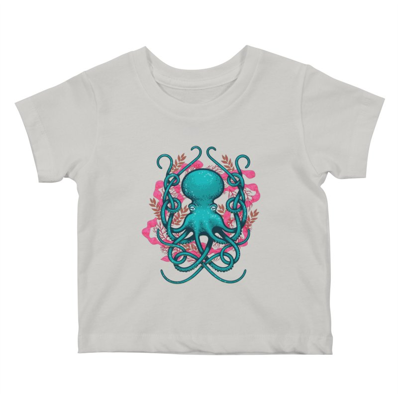 Octupus and Coral Kids Baby T-Shirt by erdavid's Artist Shop