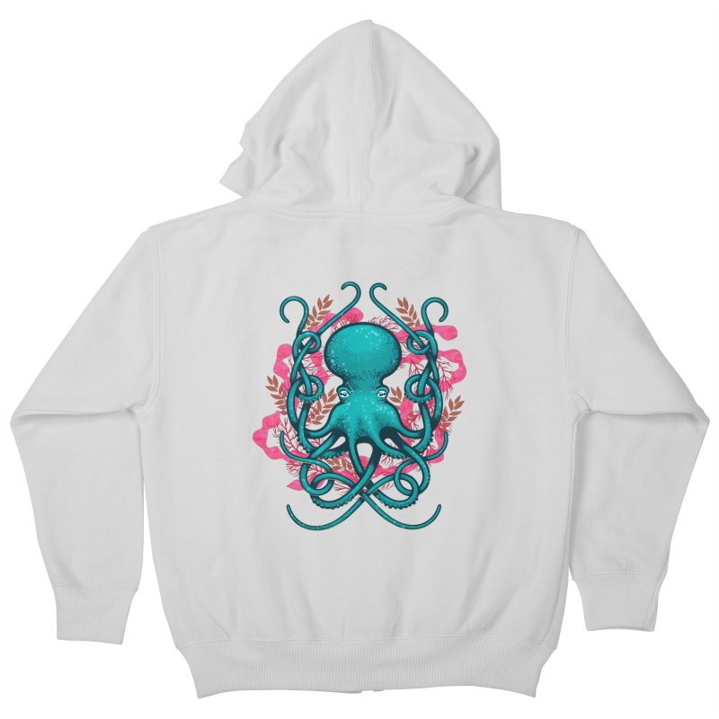 Octupus and Coral Kids Zip-Up Hoody by erdavid's Artist Shop
