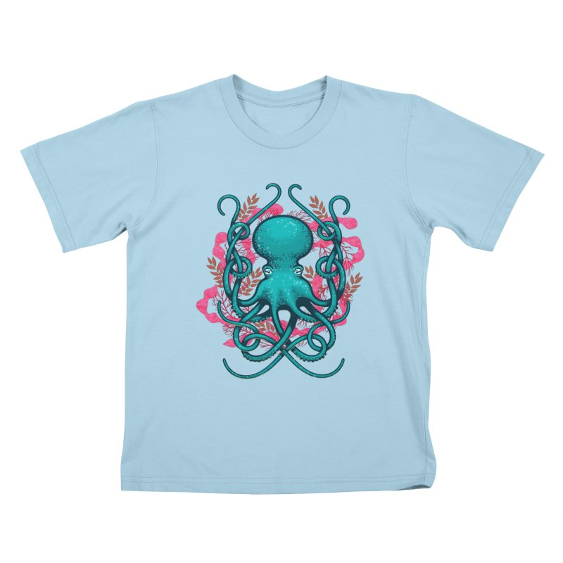 Octupus and Coral Kids T-shirt by erdavid's Artist Shop