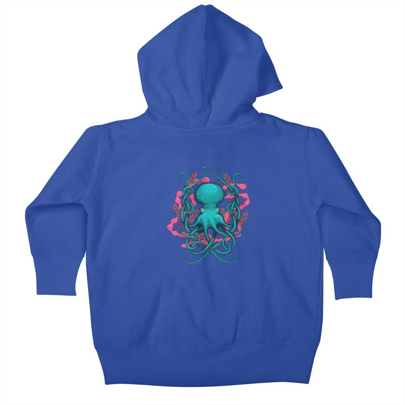 Octupus and Coral Kids Baby Zip-Up Hoody by erdavid's Artist Shop