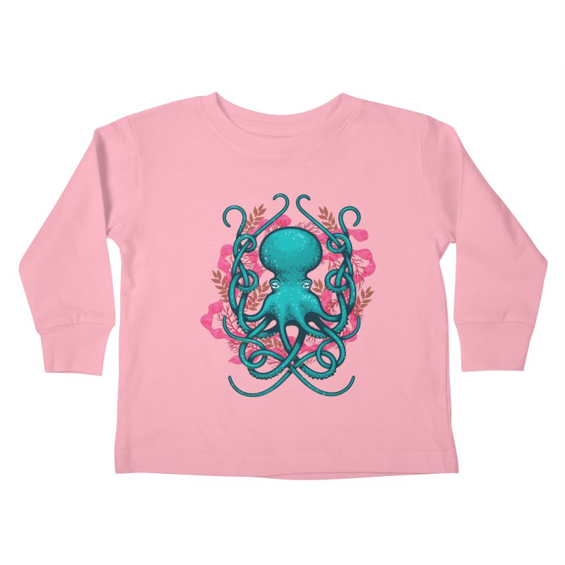 Octupus and Coral Kids Toddler Longsleeve T-Shirt by erdavid's Artist Shop