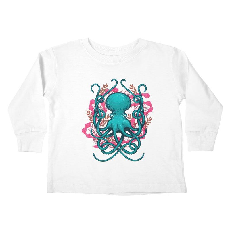 Octupus and Coral Kids Toddler Longsleeve T-Shirt by erdavid's Artist Shop