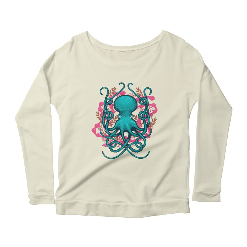 Octupus and Coral Women's Longsleeve Scoopneck  by erdavid's Artist Shop