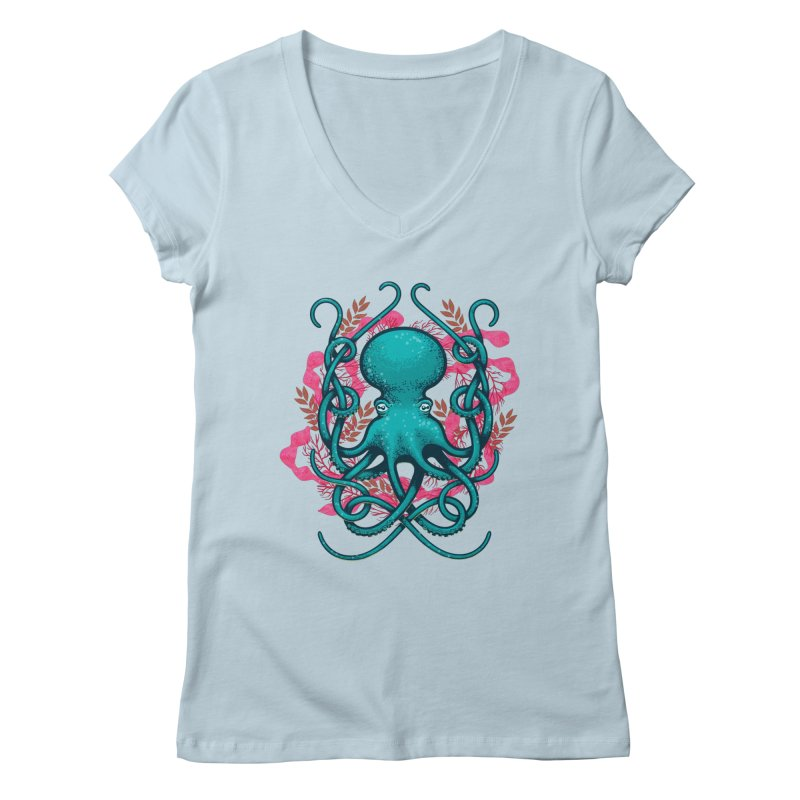 Octupus and Coral Women's V-Neck by erdavid's Artist Shop