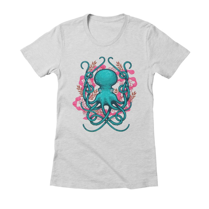 Octupus and Coral Women's Fitted T-Shirt by erdavid's Artist Shop