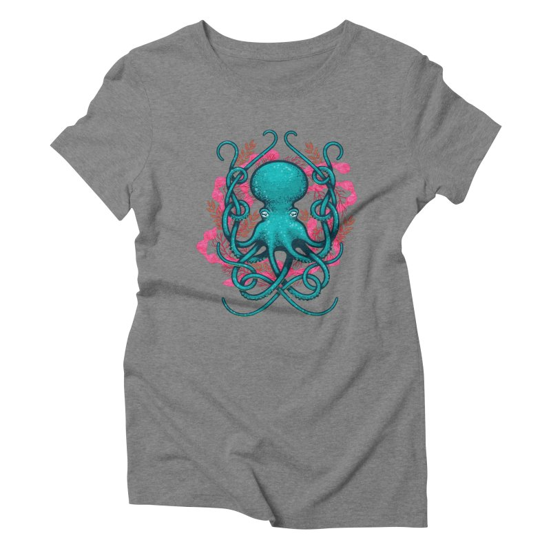 Octupus and Coral Women's Triblend T-shirt by erdavid's Artist Shop