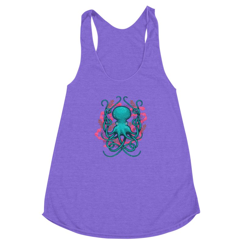 Octupus and Coral Women's Racerback Triblend Tank by erdavid's Artist Shop