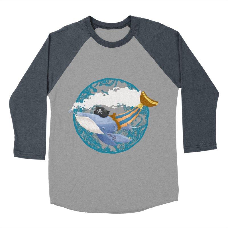 Pirate Whale Women's Baseball Triblend T-Shirt by erdavid's Artist Shop