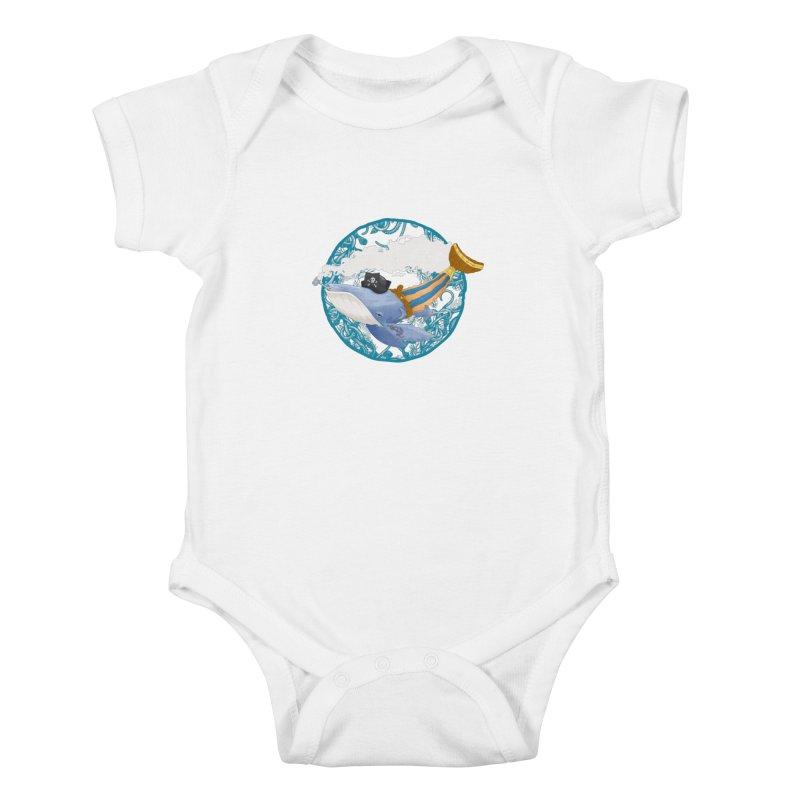 Pirate Whale Kids Baby Bodysuit by erdavid's Artist Shop