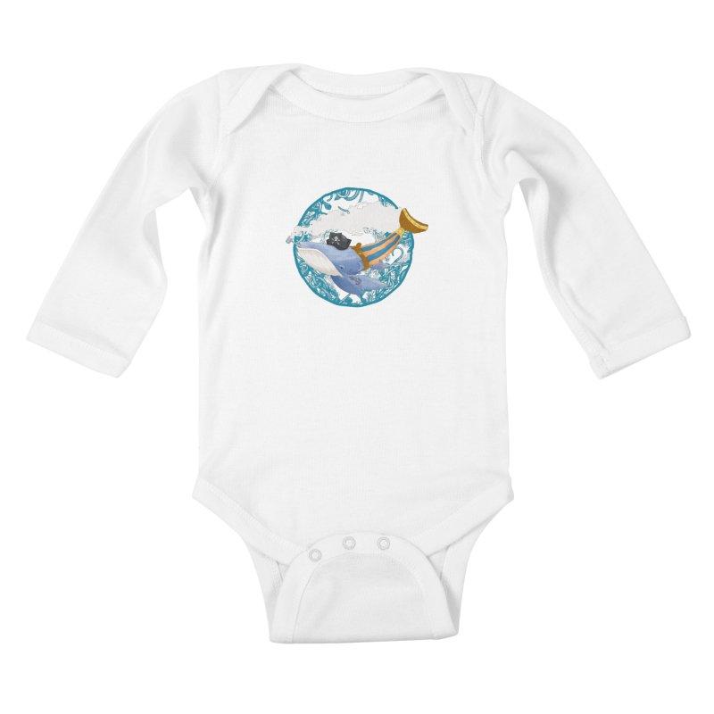 Pirate Whale Kids Baby Longsleeve Bodysuit by erdavid's Artist Shop
