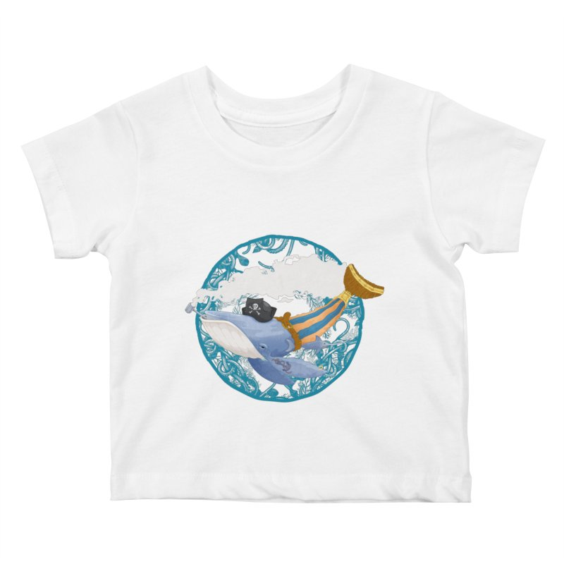 Pirate Whale Kids Baby T-Shirt by erdavid's Artist Shop
