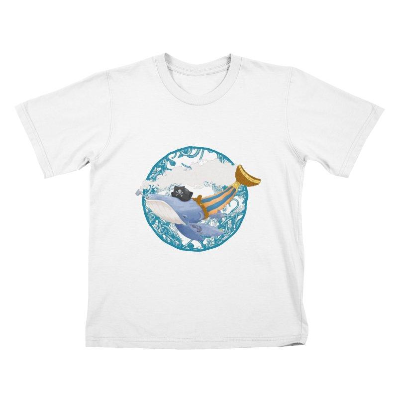 Pirate Whale Kids T-Shirt by erdavid's Artist Shop