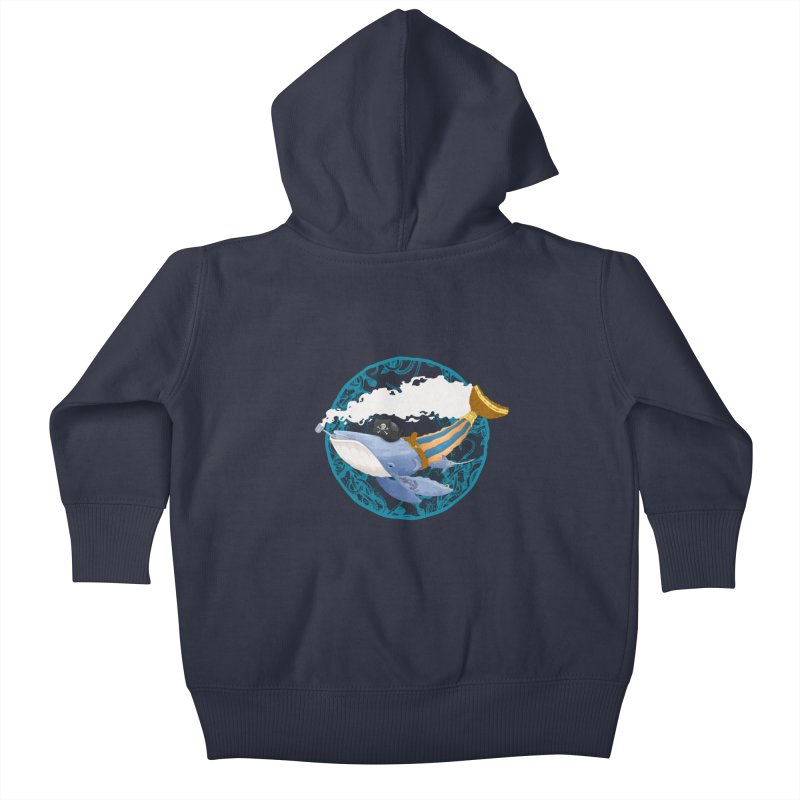 Pirate Whale Kids Baby Zip-Up Hoody by erdavid's Artist Shop