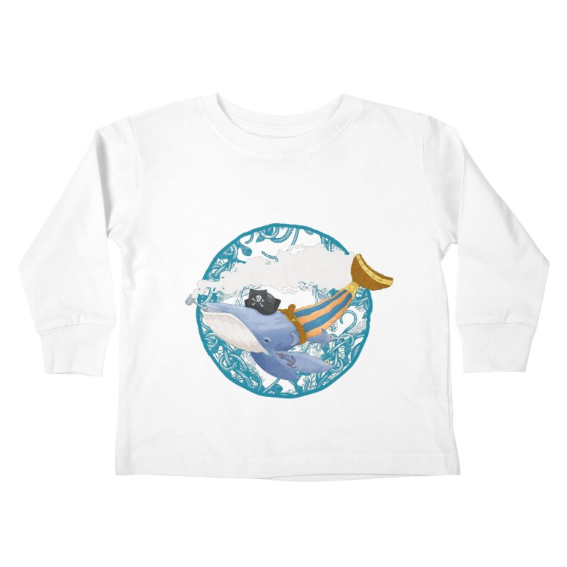 Pirate Whale Kids Toddler Longsleeve T-Shirt by erdavid's Artist Shop